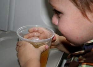 08.13.10 Apple juice for the tiny traveler.