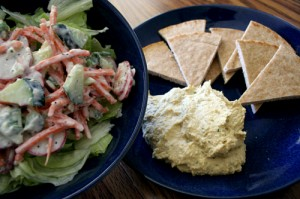 greek salad and hummus