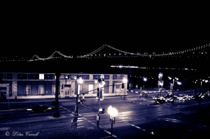The Bay Bridge at Night from Hotel Vitale