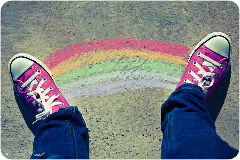 Pink Converse All Stars, Chalk Rainbow