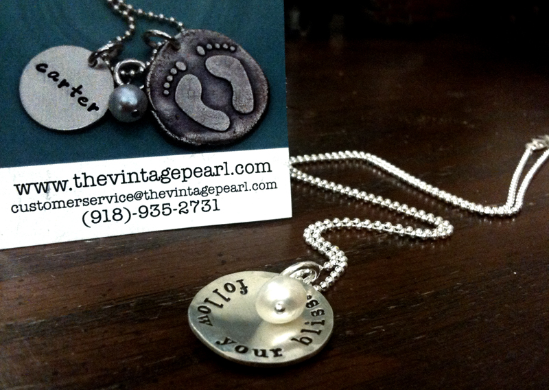 "The Vintage Pearl - Blissdom Conference Charm Necklace ""Follow Your Bliss"""